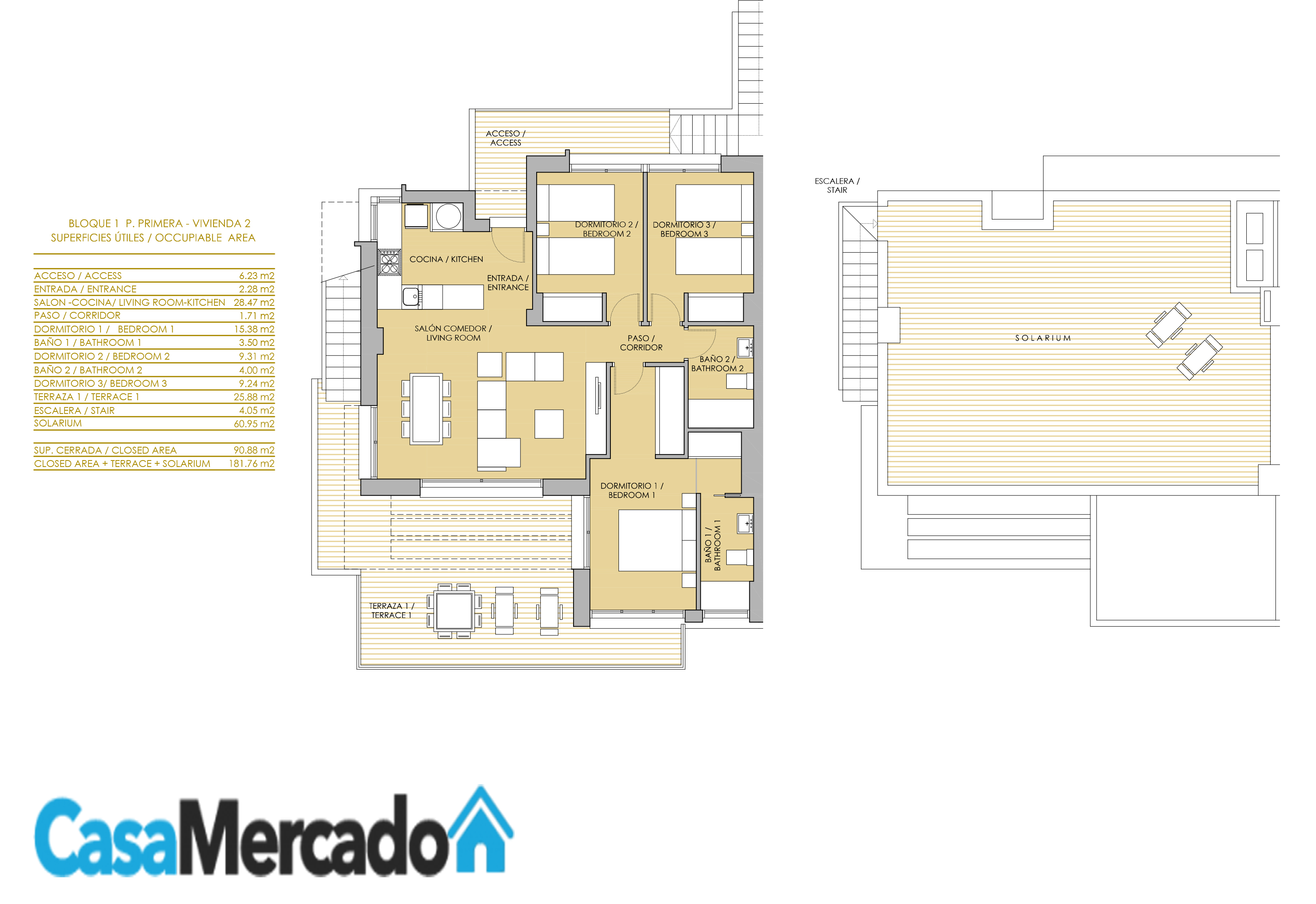 First floor apartment with roof terrace